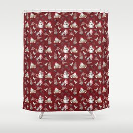 Red Gnome Pattern - Christmas Shower Curtain