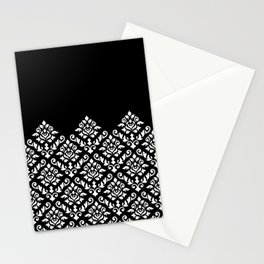 Damask Baroque Part Pattern White on Black Stationery Cards