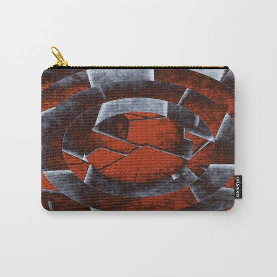 Concentric Rust - Abstract, geometric, tectured art in rustic brown, black and white Carry-All Pouch
