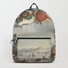 Vintage Central Park Ice Skating Painting (1861) Backpack