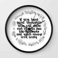 roald dahl Wall Clocks featuring Sunbeams by Hannah Elizabeth