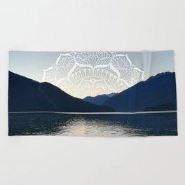 Pacific Northwest Lake Mandala Sunset Beach Towel