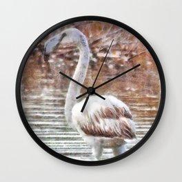 Flamingo Feathers Watercolor Wall Clock