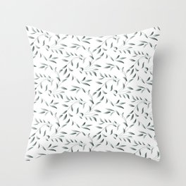 Silver Celadon Willow Throw Pillow