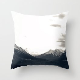 Grey Skies and Sunrise over Snow-Capped Mountains 03 Throw Pillow