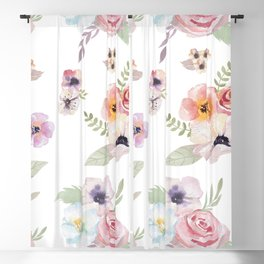 Floral I - White Blackout Curtain