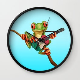 Tree Frog Playing Acoustic Guitar with Flag of Mexico Wall Clock