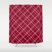 burgundy Shower Curtains featuring Burgundy Pattern by Christina Rollo