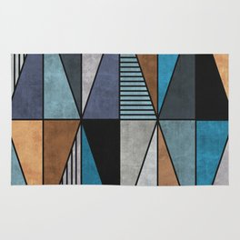 Colorful triangles - blue, grey, brown Rug