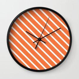 Peach Orange Diagonal Stripes Wall Clock