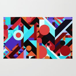 CRAZY CHAOS ABSTRACT GEOMETRIC SHAPES PATTERN (ORANGE RED WHITE BLACK BLUES) Rug