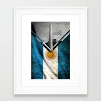 argentina Framed Art Prints featuring Flags - Argentina by Ale Ibanez