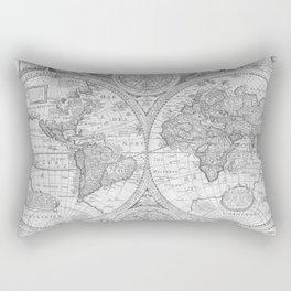 Antique Gray Map Rectangular Pillow