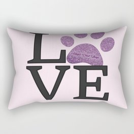 Love is a Four Letter Word - purple paw Rectangular Pillow