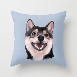 Smiling Shiba Inu Throw Pillow