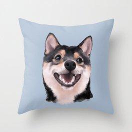 Smiling Shiba Inu Throw Pillow