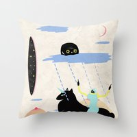 girl power Throw Pillows featuring GIRL POWER by Alba Blázquez