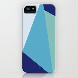Elegant geometric navy blue and sea green iPhone Case