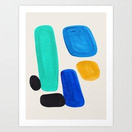 Mid Century Modern Retro Minimalist Colorful Shapes Blue Pebbles Yellow Aquatic Arrangement Harmony Art Print