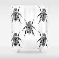 beetle Shower Curtains featuring Beetle by Rhiannon Foster