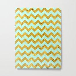 Golden chevron and blue Metal Print