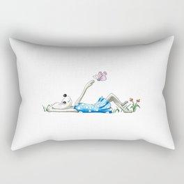 Cute lazy mouse girl dreaming of butterflies Rectangular Pillow
