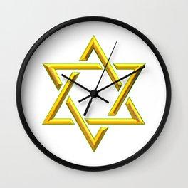 Golden 3-D Look Jewish Star of David Wall Clock