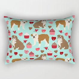 English Bulldog valentines day dog breeds gifts for dog lovers custom pet portraits Rectangular Pillow