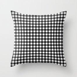 Gingham Print - Black Throw Pillow