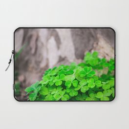 Green Clover and Grey Tree Laptop Sleeve
