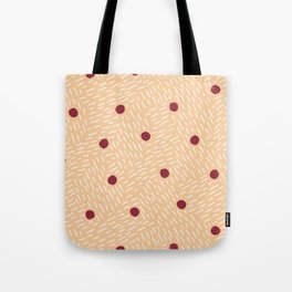 Polka dots and dashes // peach and burgundy Tote Bag