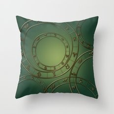 Zodiac circles and signs green Throw Pillow