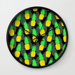 Pineapples on black Wall Clock
