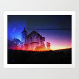 victorian house sunrise Art Print