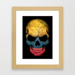 Dark Skull with Flag of Colombia Framed Art Print