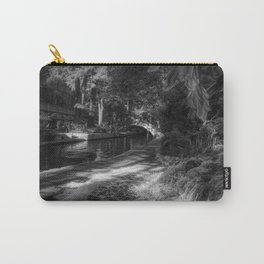 San Antonio Riverwalk and Waterfall Black and White Carry-All Pouch