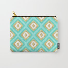 Gold & Turquoise Ikat Pattern Carry-All Pouch