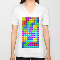 tetris V-neck T-shirts featuring Tetris by Rebekhaart