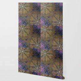 Gold Mandalas on Violet Background Wallpaper