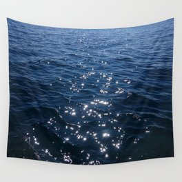Sparkly Deep Blue Sea Waves Wall Tapestry