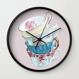 Lean on Me in Pink | Teacup Painting Wall Clock