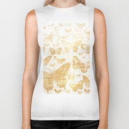 Rustic gold butterfly pattern Biker Tank