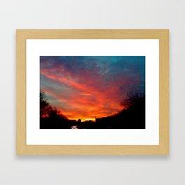 Sunset Traffic Framed Art Print
