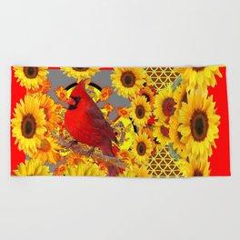 RED CARDINAL BIRD YELLOW SUNFLOWERS  ABSTRACT Beach Towel