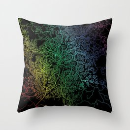 Yaounde, Cameroon, City, Map, Rainbow, Map, Art, Print Throw Pillow