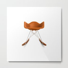 Eames® Molded Plastic Rocker with Wood Base - Orange Metal Print