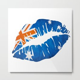 Australian Flag Lips Metal Print