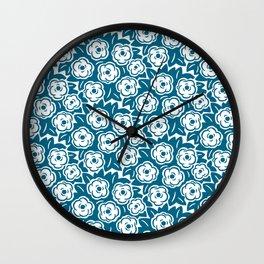 Flower Bouquet Pattern Peacock Blue Wall Clock