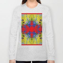 WESTERN YELLOW & RED GARDEN GOLD BLUE FLOWERS Long Sleeve T-shirt