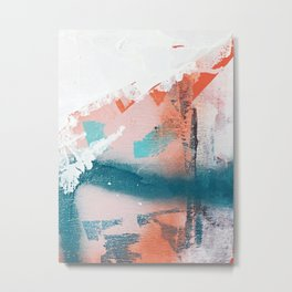 Poetry [2]: a vibrant abstract mixed-media painting in teal and pink by Alyssa Hamilton Art Metal Print